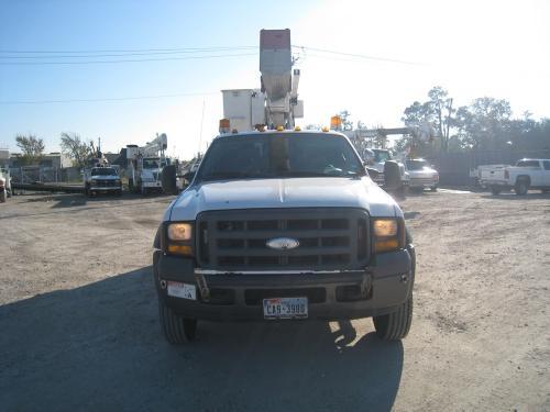 Fiberglass body bucket truck.